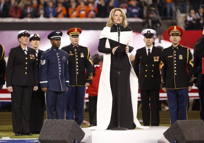 Soprano Renee Fleming sings the U.S. National Anthem prior to the NFL Super Bowl XLVIII football game between the Denver Broncos and the Seattle Seahawks in East Rutherford, New Jersey, February 2, 2014. (Reuters)
