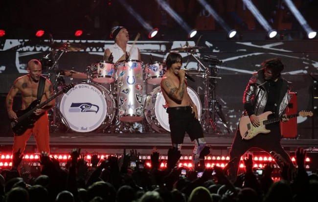 The Red Hot Chili Peppers perform during the halftime show of the NFL Super Bowl XLVIII football game between the Denver Broncos and the Seattle Seahawks in East Rutherford, New Jersey, February 2, 2014. (Reuters)