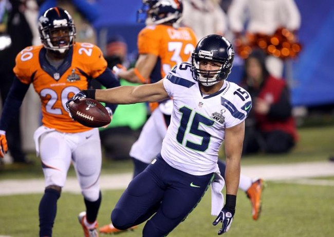 Seattle Seahawks wide receiver Jermaine Kearse (15) celebrates after scoring a touchdown against the Denver Broncos in the third quarter in Super Bowl XLVIII at MetLife Stadium. (Reuters)