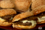 Latin Burgers with Caramelized Onion and Jalapeno Relish and Red Pepper Mayonnaise  Read more at: http://www.foodnetwork.com/recipes/ingrid-hoffmann/latin-burgers-with-caramelized-onion-and-jalapeno-relish-and-red-pepper-mayonnaise-recipe.html