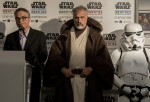 Patrice Giraud (L) speaks at the 'Star Wars Identities' exhibition