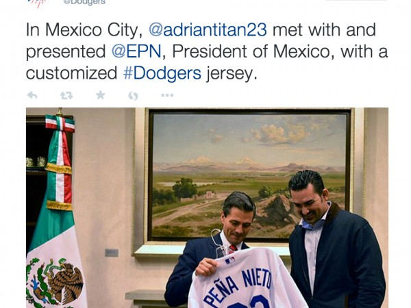 Adrian Gonzalez presented Mexico President Enrique Pena Nieto with a customized Dodgers jersey