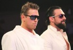 The Miz and his stunt double, Damien Sandow (as Damien Mizdow), at a WWE SmackDown television taping on September 16, 2014.