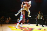 Mexican Lucha Libre wrestlers perform for media during a press call on July 3, 2008 in London, England.