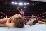 Randy Orton stands over Daniel Bryan & John Cena