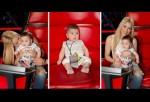 The Colombian superstar with her little son Milan at the set of NBC's The Voice.