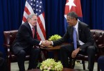 US President Barak Obama meets with Cuban President Raul Castro at the UN last fall