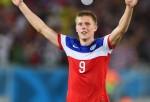 Aron Johannsson celebrates the USA's first matchup win against Ghana