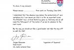 Jurgen wrote you a sick note.