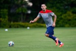 Clint Dempsey of the USMNT warms up at the World Cup in Brazil.