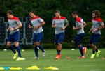 U.S. Mens National Soccer Team stretches in Sao Palo, Brazil