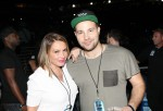Radio personality Angie Martinez and guest attend the D'USSE VIP Riser + Lounge At On The Run Tour - MetLife Stadium on July 11, 2014 in East Rutherford City.
