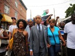 The Rev. Al Sharpton marches with family members of Eric Garner (right) and hundreds of others during a demonstration against the death of Eric Garner after he was taken into police custody in Staten Island on Thursday on July 19, 2014 in New York City. N