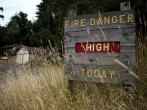 Dry grasses partially cover a fire danger sign that is posted in Samuel P. Taylor state park on July 15, 2014 in Lagunitas, California. As the severe drought in California contiues to worsen, the State's landscape and many resident's lawns are turning bro