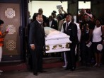 The casket carrying Eric Garner is brought out after his funeral outside the Bethel Baptist Church on July 23, 2014 in New York City. New York Mayor Bill de Blasio announced at a recent news conference that there will be a full investigation into the circ